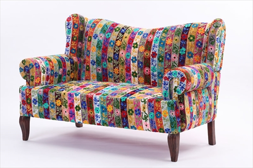 ON&ON DLD220FR ボヘミアンスタイルなおしゃれなパッチワーク 二人掛けソファ