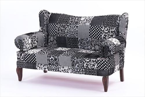 ON&ON DLD220BK ボヘミアンスタイルなおしゃれなパッチワーク 二人掛けソファ
