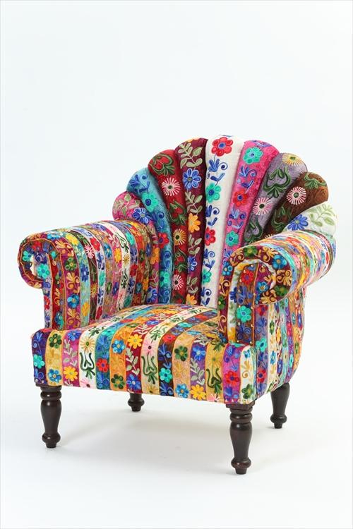 ON&ON DLD801FR エレガントなUKクラシックスタイルのパッチワーク ピーコック 一人用ソファー