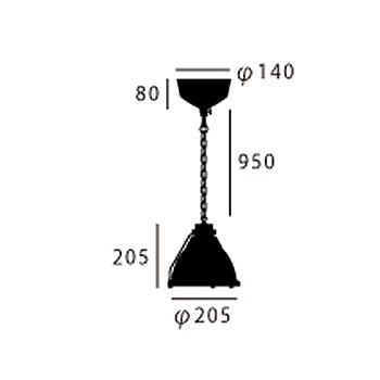 ARTWORK STUDIO AW-0324Z-R/BK Bishop-pendant (ビショップペンダント) (S) ラスティブラック  寸法画像
