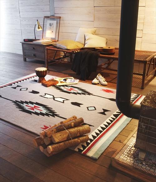 ARTWORK STUDIO TR-4238CR 「Native rug(ネイティブラグ)」Chimayo(チマヨ柄)Lサイズ (クリーム) 画像5