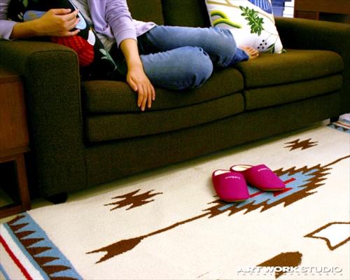 ARTWORK STUDIO TR-4238CR 「Native rug(ネイティブラグ)」Chimayo(チマヨ柄)Lサイズ (クリーム) 画像1