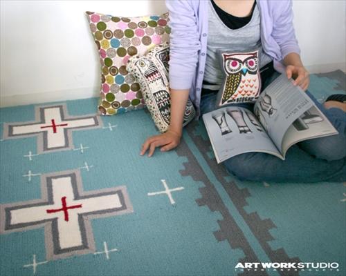 ARTWORK STUDIO TR-4281L/BL 「Native rug(ネイティブラグ)」Cross(クロス柄)Mサイズ (ライトブルー) 画像1
