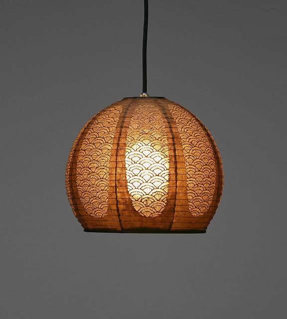 林工芸 TP-1052 林工芸 TP-1052(LED) 和紙ペンダント/レース和紙 青海波 窓灯りシリーズ 画像1