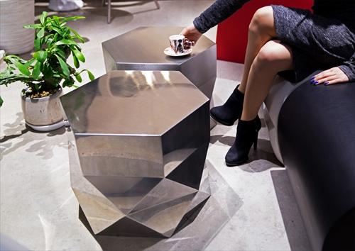 三代目板金屋 hexagon-st hexagon サイドテーブル(鏡面仕上げ) 画像1