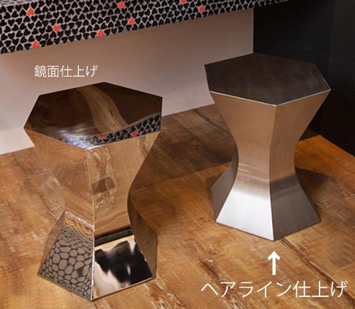 三代目板金屋 pokkuri-st-hl pokkuri サイドテーブル(ヘアライン仕上げ) 画像2